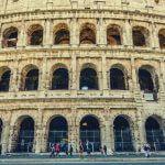 A close-up shot of the Roman Colosseum.