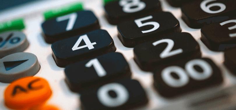 A close-up shot of a calculator.