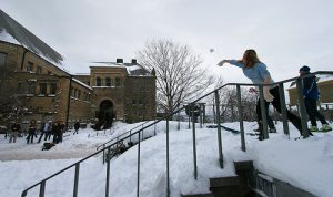 One of the weird traditions is a large snowball fight.