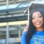 A student wearing a graduation cap.