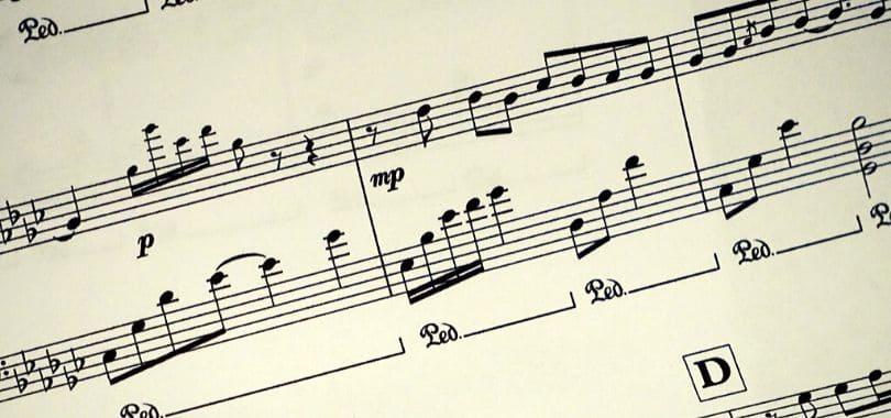 A close-up of a music score.