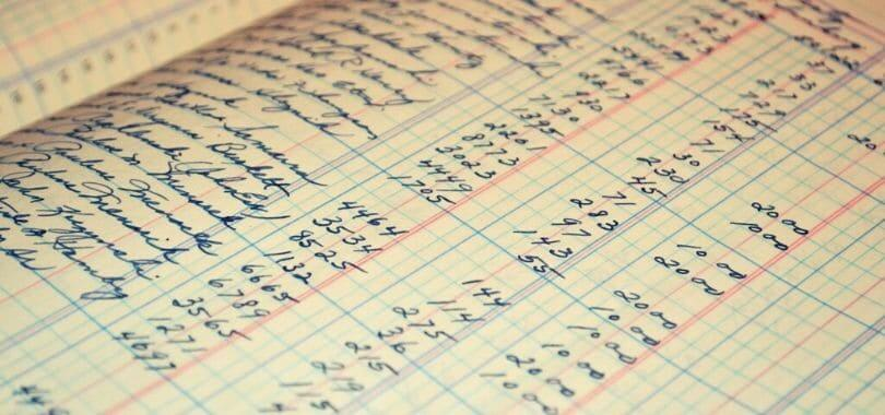 A list of numbers in an accounting ledger.