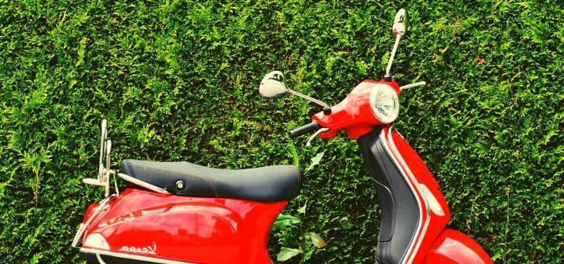 A red moped parked in front of a green hedge.