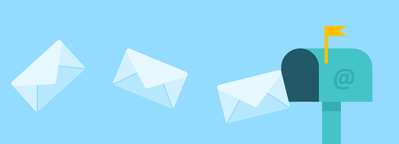 Three white envelopes flying out of a blue mailbox.