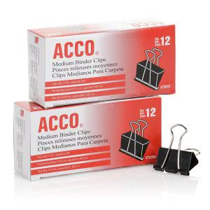 Acco binder clips. Click to view its Amazon page.