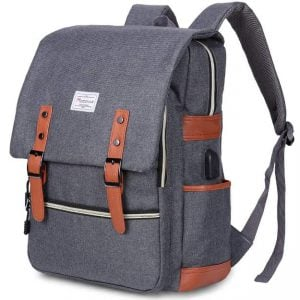 Blue Modoker vintage laptop backpack. Click to view the Amazon page.
