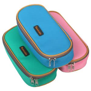 Blue, green, and pink Homecube pencil cases. Click to view its Amazon page.