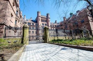 Looking through the entry gate at Yale University's main building.