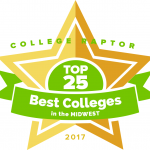 """College Raptor Rankings star badge that says """"Top 25 Best Colleges in the Midwest 2017""""."""