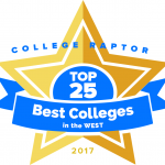 """College Raptor Rankings star badge that says """"Top 25 Best Colleges in the West 2017""""."""