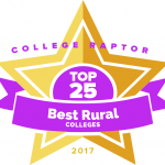 "College Raptor Rankings star badge that says ""Top 25 Best Rural Colleges 2017""."