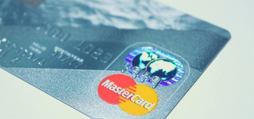 A blue and gray credit card.