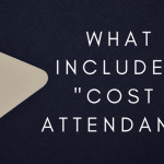 """A tan and pink price tag with text next to it that says """"what is included in cost of attendance?"""""""