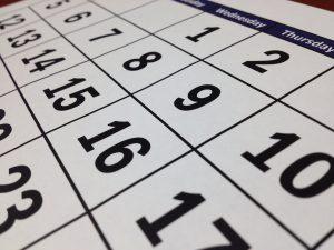 Dates in the calendar.