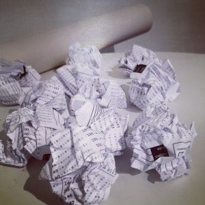 crumpled test papers