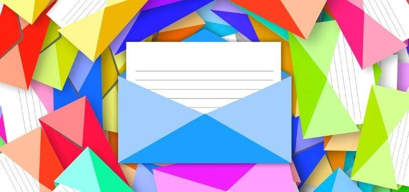 Colorful envelope icons swirling around.