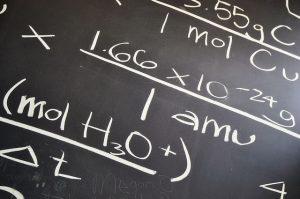 Math equation on the blackboard.