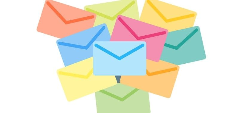 Multiple colorful envelope icon together.