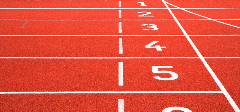 Race track lanes numbered from one to five.