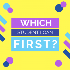 """Yellow background with purple and blue geometric designs and text that says """"Which loan first?"""""""