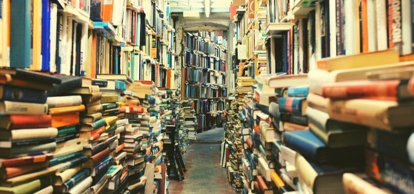 Stacks of books in a library.