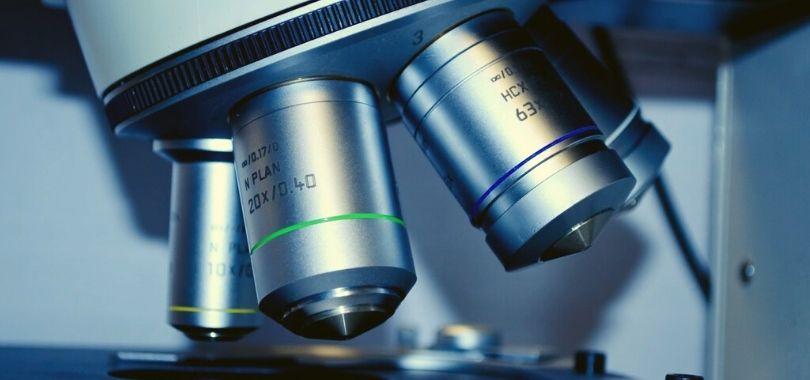 A closeup of a microscope.
