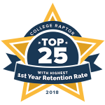 """A gold star badge that says """"College Raptor Top 25 with Highest 1st Year Retention Rate 2018."""""""
