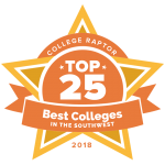 """College Raptor Rankings star badge that says """"Top 25 Best Colleges in the Southwest 2018""""."""