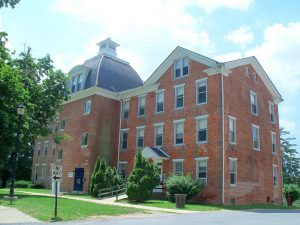 A Lincoln University red brick campus building.