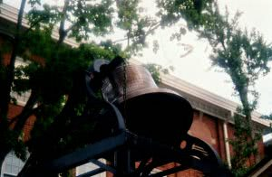 A bell at Morehouse College outside Sale Hall Chapel.