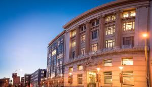 The San Francisco Conservatory of Music building at dusk.