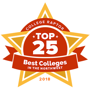 """College Raptor Rankings star badge that says """"Top 25 Best Colleges in the Northwest 2018""""."""