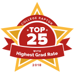 """College Raptor Rankings star badge that says """"Top 25 with Highest Grad Rate 2018""""."""