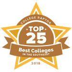 """A gold star badge that says """"College Raptor Top 25 Best Colleges in the Southeast 2018."""""""