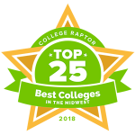 """College Raptor Rankings star badge that says """"Top 25 Best Colleges in the Midwest 2018""""."""