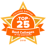 """A gold star badge that says """"College Raptor Top 25 Best Colleges in the Northeast 2018."""""""