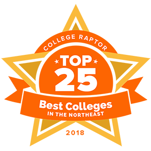 "A gold star badge that says ""College Raptor Top 25 Best Colleges in the Northeast 2018."""