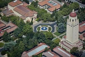 Hoover Tower in Stanford University campus from an aerial perspective.
