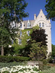 Northwestern University building behind the trees.