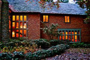 Lewis and Clark College red brick building during autumn.