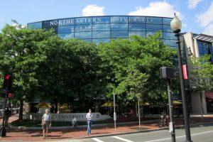 Northeastern University building behind the trees.