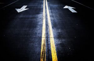 Two way road.
