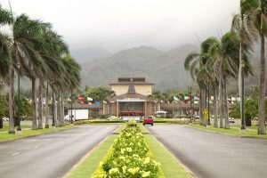 Road leading to the Brigham Young University Hawaii campus.