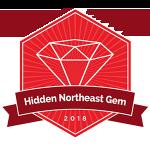 "College Raptor diamond badge that says ""Hidden Northeast Gem 2018""."