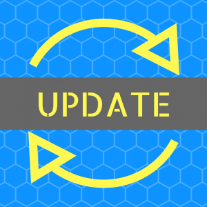 """Overlay text """"Update"""" against grey and blue with a circular arrow background."""