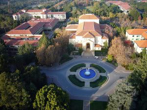 Hoover Tower in Stanford University campus aerial shot.