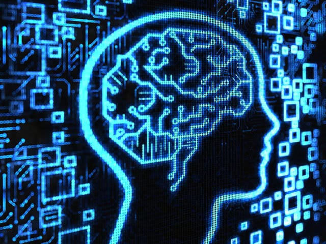 Blue and black illustration of a digital brain.
