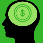 A male head side view with a dollar sign.