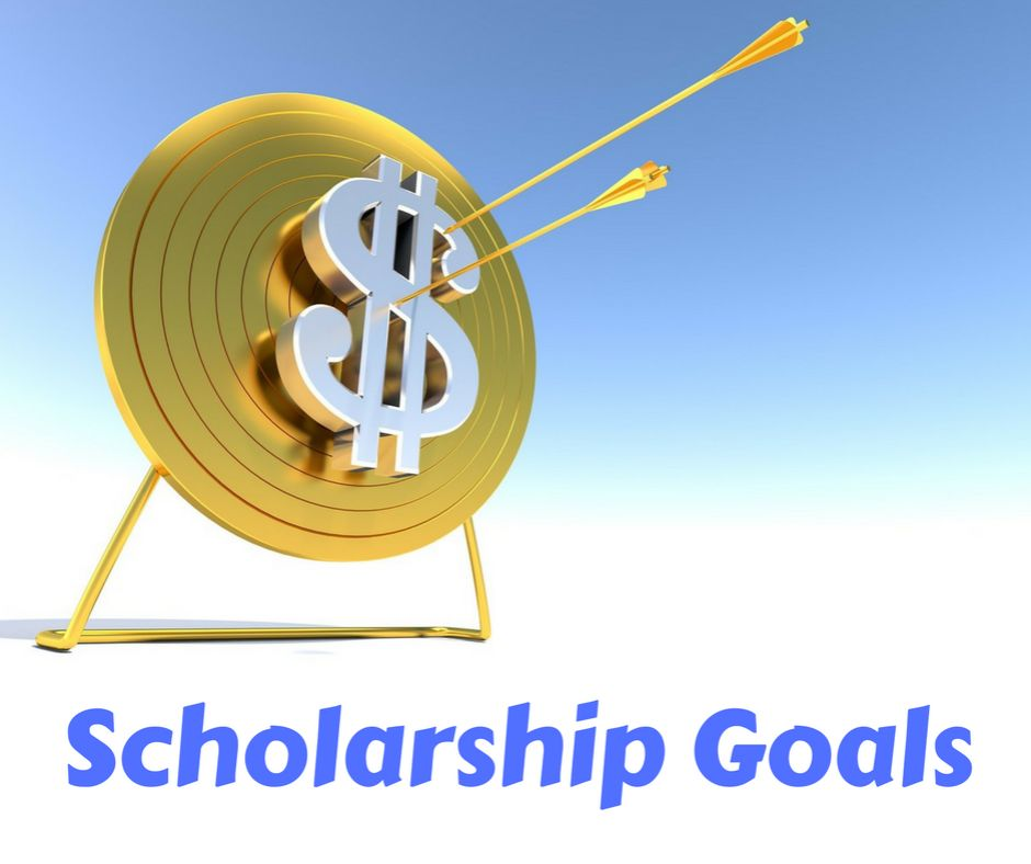 """Overlay text """"Scholarship Goals"""" with a giant dollar sign in an arrow target board in the background."""
