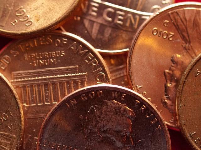Bronze coins super close-up.